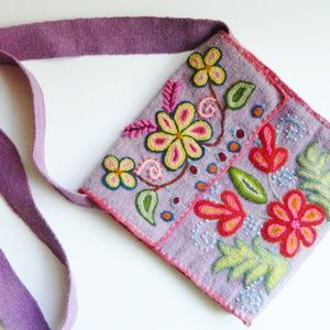 Artisan Boho Embroidered Crossbody Bag Peru
